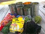 Yarn Wrapped Tin Can Planters
